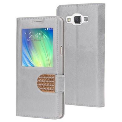 Microsonic Samsung Galaxy A7 Kılıf Pearl Simli Taşlı Deri Gümüş Cep Telefonu Kılıfı