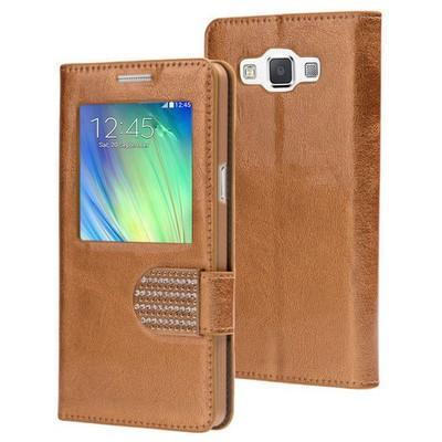 Microsonic Samsung Galaxy A7 Kılıf Pearl Simli Taşlı Deri Gold Cep Telefonu Kılıfı