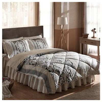 Taç Tekstil TAÇ HAZEL ÇİFT KİŞİLİK Saten UYKU SETİ - Gri Uyku Setleri