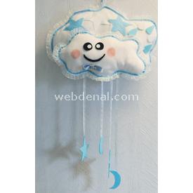 Handan Kapı Süsü Büyük Bulut Mavi Dekoratif Süs