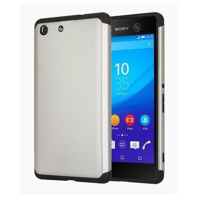 Microsonic Sony Xperia M5 Kılıf Slim Fit Dual Layer Armor Gümüş Cep Telefonu Kılıfı