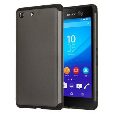 Microsonic Sony Xperia M5 Kılıf Slim Fit Dual Layer Armor Siyah Cep Telefonu Kılıfı