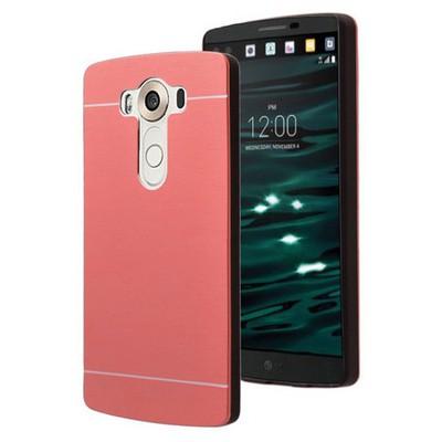 Microsonic Lg V10 Kılıf Hybrid Metal Kırmızı Cep Telefonu Kılıfı