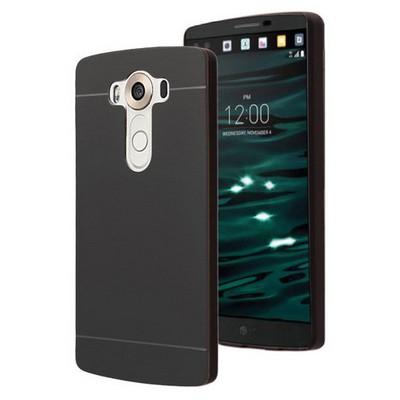 Microsonic Lg V10 Kılıf Hybrid Metal Siyah Cep Telefonu Kılıfı