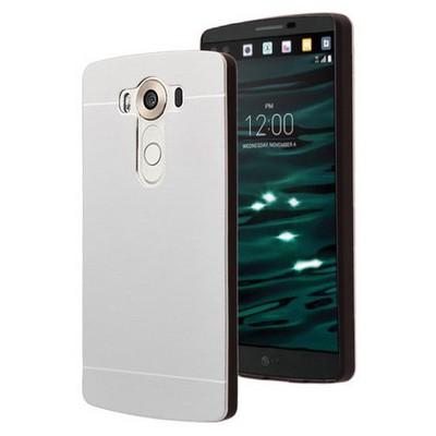 Microsonic Lg V10 Kılıf Hybrid Metal Gümüş Cep Telefonu Kılıfı