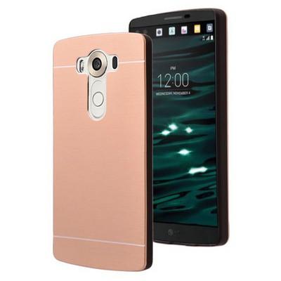 Microsonic Lg V10 Kılıf Hybrid Metal Gold Cep Telefonu Kılıfı