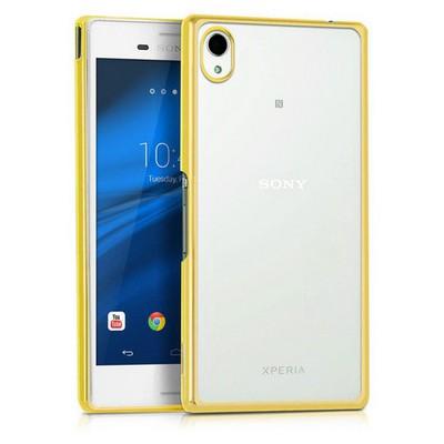 Microsonic Sony Xperia M4 Aqua Kılıf Flexi Delux Gold Cep Telefonu Kılıfı