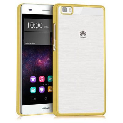 Microsonic Huawei Ascend P8 Lite Kılıf Flexi Delux Gold Cep Telefonu Kılıfı