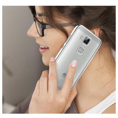 Microsonic Huawei Ascend G8 Kılıf Flexi Delux Gümüş Cep Telefonu Kılıfı