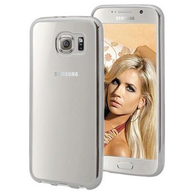 Microsonic Samsung Galaxy S6 Kılıf Flexi Delux Gümüş Cep Telefonu Kılıfı