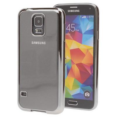 Microsonic Samsung Galaxy S5 Kılıf Flexi Delux Gümüş Cep Telefonu Kılıfı