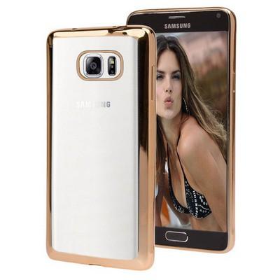 Microsonic Samsung Galaxy Note 5 Kılıf Flexi Delux Gold Cep Telefonu Kılıfı