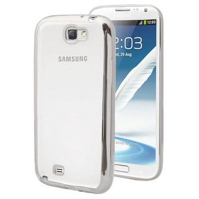 Microsonic Samsung Galaxy Note 2 Kılıf Flexi Delux Gümüş Cep Telefonu Kılıfı