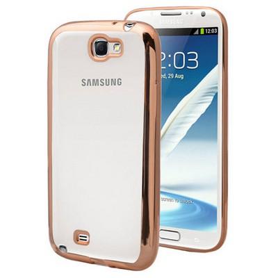 Microsonic Samsung Galaxy Note 2 Kılıf Flexi Delux Gold Cep Telefonu Kılıfı