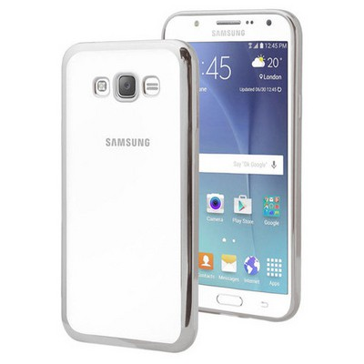 Microsonic Samsung Galaxy J7 Kılıf Flexi Delux Gümüş Cep Telefonu Kılıfı