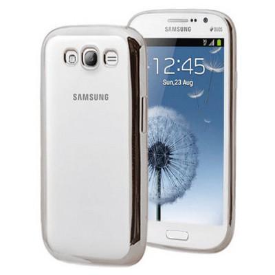 Microsonic Samsung Galaxy Grand I9082 Kılıf Flexi Delux Gümüş Cep Telefonu Kılıfı