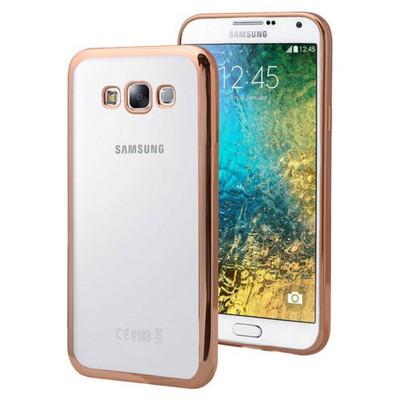 Microsonic Samsung Galaxy E7 Kılıf Flexi Delux Gold Cep Telefonu Kılıfı