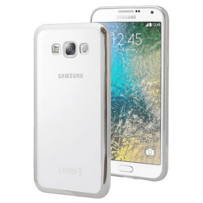 Microsonic Samsung Galaxy E5 Kılıf Flexi Delux Gümüş Cep Telefonu Kılıfı