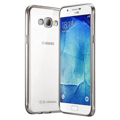 Microsonic Samsung Galaxy A8 Kılıf Flexi Delux Gümüş Cep Telefonu Kılıfı
