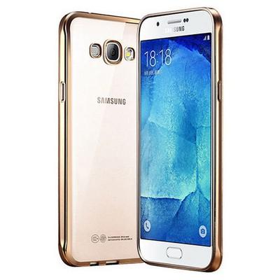 Microsonic Samsung Galaxy A8 Kılıf Flexi Delux Gold Cep Telefonu Kılıfı