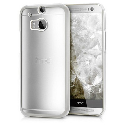 Microsonic Htc One M8 Kılıf Flexi Delux Gümüş Cep Telefonu Kılıfı