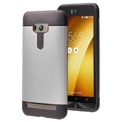 Microsonic Asus Zenfone Selfie Kılıf Slim Fit Dual Layer Armor Gümüş Cep Telefonu Kılıfı