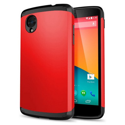 Microsonic Lg Nexus 5 Kılıf Slim Fit Dual Layer Armor Kırmızı Cep Telefonu Kılıfı