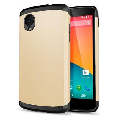 Microsonic Lg Nexus 5 Kılıf Slim Fit Dual Layer Armor Gold Cep Telefonu Kılıfı