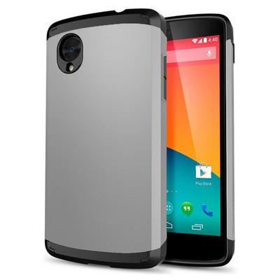 Microsonic Lg Nexus 5 Kılıf Slim Fit Dual Layer Armor Gümüş Cep Telefonu Kılıfı
