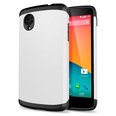 Microsonic Lg Nexus 5 Kılıf Slim Fit Dual Layer Armor Beyaz Cep Telefonu Kılıfı