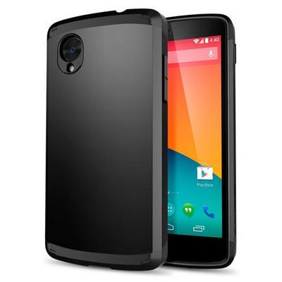 Microsonic Lg Nexus 5 Kılıf Slim Fit Dual Layer Armor Siyah Cep Telefonu Kılıfı