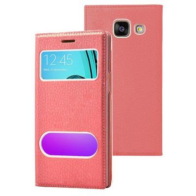 Microsonic Samsung Galaxy A7 2016 Kılıf Gizli Mıknatıslı View Delux Kırmızı Cep Telefonu Kılıfı