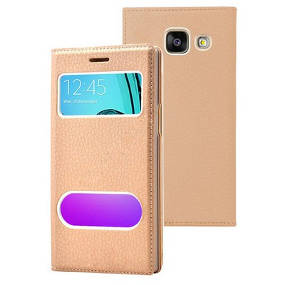 Microsonic Samsung Galaxy A7 2016 Kılıf Gizli Mıknatıslı View Delux Gold Cep Telefonu Kılıfı
