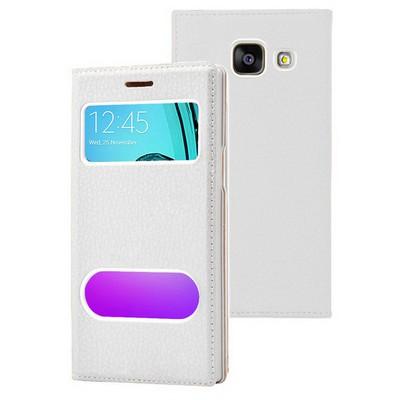 Microsonic Samsung Galaxy A7 2016 Kılıf Gizli Mıknatıslı View Delux Beyaz Cep Telefonu Kılıfı