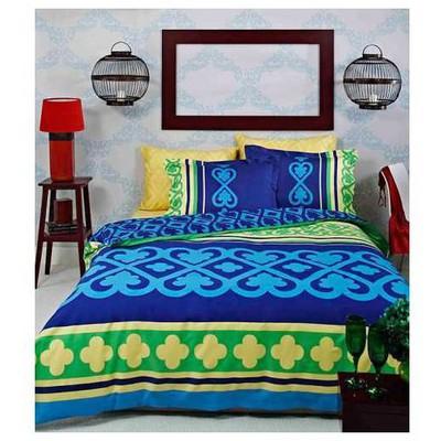 Taç Monet Çift Kişilik Saten Delux Nevresim Takımı - Mavi Ev Tekstili