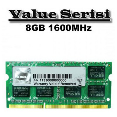 G.Skill Value 8GB Notebook Bellek (F3-1600C11S-8GSQ)