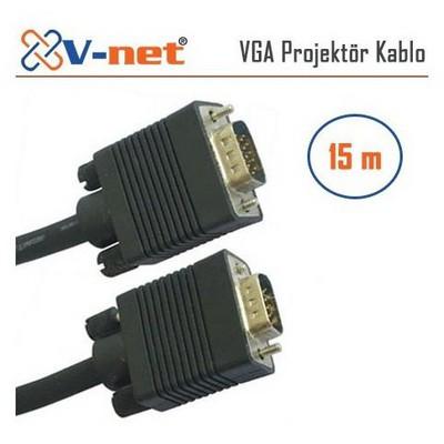 V-net Vga 15m Video Projektör Kablosu, Gold Plated Ses ve Görüntü Kabloları