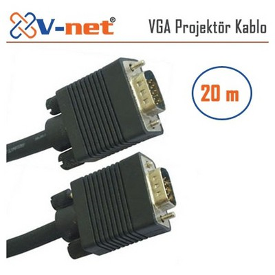 V-net Vga 20m Video Projektör Kablosu, Gold Plated Ses ve Görüntü Kabloları