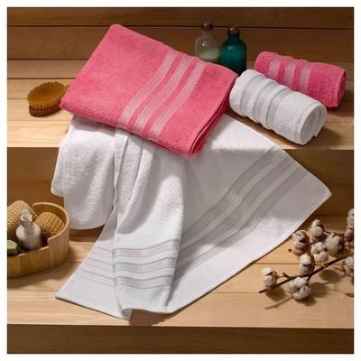 Taç Tekstil Taç Pinus Hamam Seti - Fuşya/beyaz Havlu & Bornoz