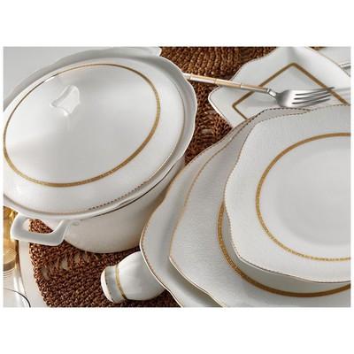 Kütahya Porselen 50111 Kare Bone 73 Parça Desen Yemek Takımı