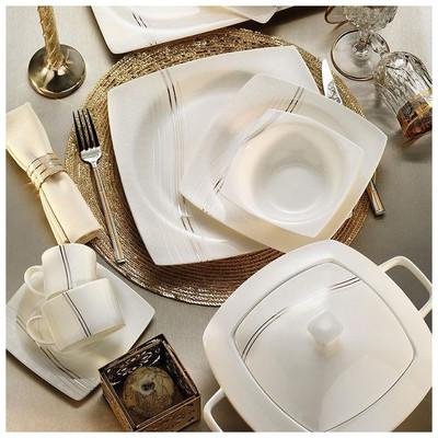 Kütahya Porselen 60100 Aliza Bone 83 Parça Desenli Yemek Takımı