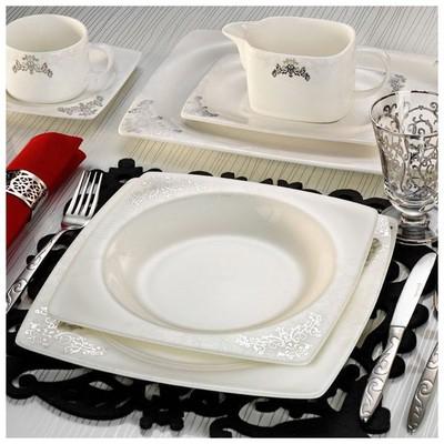Kütahya Porselen 65110 Aliza Bone 83 Parça Desenli Yemek Takımı