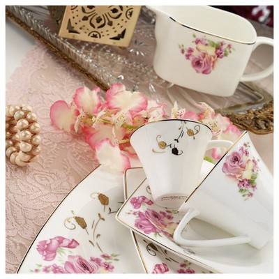 Kütahya Porselen 65113 Aliza Bone 83 Parça Desenli Yemek Takımı Tabak