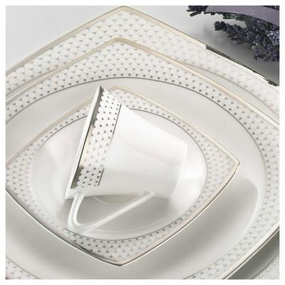 Kütahya Porselen 66101 Aliza Bone 83 Parça Desenli Yemek Takımı Tabak