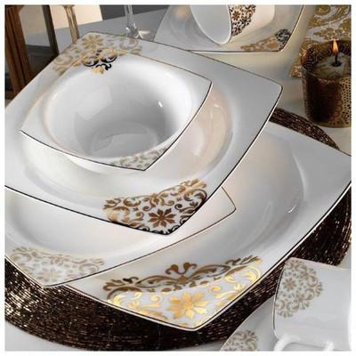 Kütahya Porselen 60105 Fileli Kare Bone 83 Parça Yemek Takımı