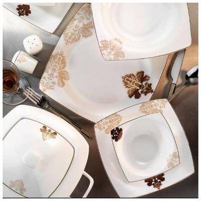 Kütahya Porselen 60106 Fileli Kare Bone 83 Parça Yemek Takımı