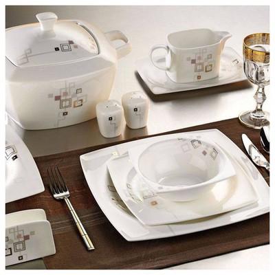 Kütahya Porselen Aliza Bone 83 Parça 35100 Desenli Yemek Takımı