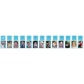 Parti Paketi Bebeğin 12 Ayı, Fotoğraf Çerçeveli Garlent Mavi Parti Afişi