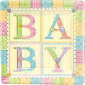 Parti Paketi Sevimli Bebek, Kare Açık Büfe Tabağı 8'li Parti Tabağı