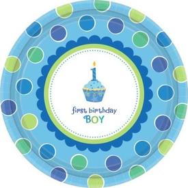 Parti Paketi 1 Yaş Partisi Mavi Cupcake, Açık Büfe Tabağı 8'li Parti Tabağı